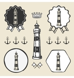 vintage lighthouse symbol emblem label collection vector image vector image