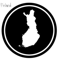 white map of finland on black circle vector image vector image