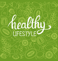 background healthy food poster or banner with vector image vector image