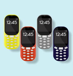 Colorful mobile phones set isolated on background vector