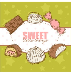 Creative retro card with candies and marshmallow vector image