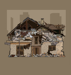 Painted ruined a two storey brick house vector