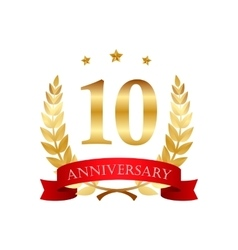 10 years anniversary golden label with ribbons vector image