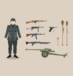 a german ww2 soldier gun equipment with bazooka vector image
