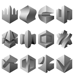 Abstract 3d objects set vector