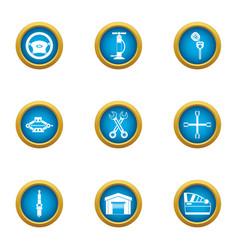 autogarage icons set flat style vector image