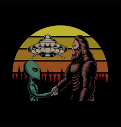 bigfoot and alien conspiracy sunset retro i vector image