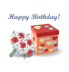 bouquet of red roses with a gift box with hearts vector image