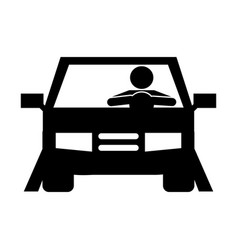 businessman driving car silhouette vector image