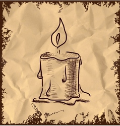 Candle icon on vintage background vector image