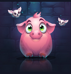 cartoon big pig on a brick wall background vector image