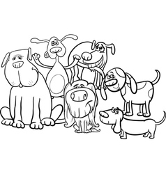 Cartoon dogs group coloring page vector