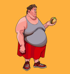 Cartoon fat man looks at hamburger in his hand in vector