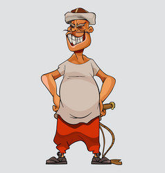Cartoon man in a cap and with a whip stands vector