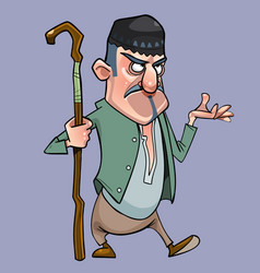 Cartoon mustachioed shepherd man with a staff in vector