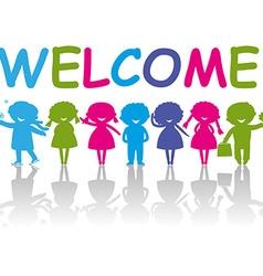 Cartoon Silhouette Children Welcome vector