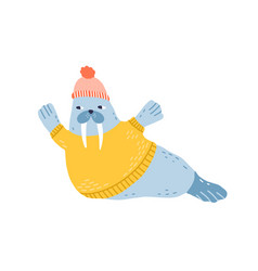 childish funny walrus portrait in yellow knitted vector image