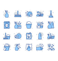 Cleaning line icons laundry sponge and vacuum vector