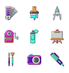 Color coating icons set cartoon style vector
