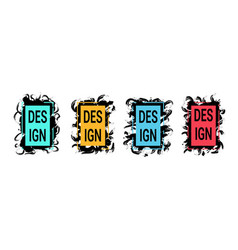 color frames with black brush strokes for text vector image