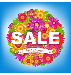 Color Sale Poster With Flowers vector