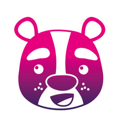 color silhouette happy bear head wild animal vector image