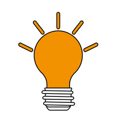 color silhouette image cartoon light bulb with vector image