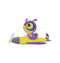 cute baby animal owl on airplane funny pilot vector image