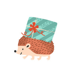 cute hedgehog carry present or gift box for vector image