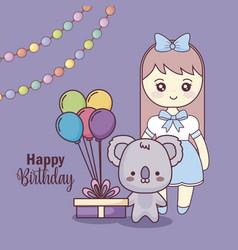 Cute koala with little girl happy birthday card vector
