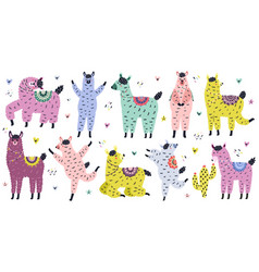 cute llamas collection in scandinavian style vector image