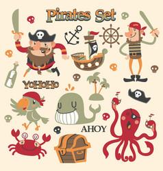 Cute pirates cartoon set vector