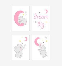Cute posters with little elephant prints vector