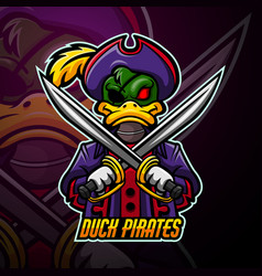Duck pirates mascot sport esport logo design vector