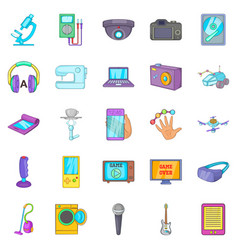 electronic device icons set cartoon style vector image