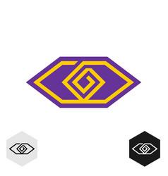 eye tech cornered logo geometric lines technical vector image