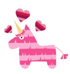 fiesta unicorn pink horse mexican pinata vector image
