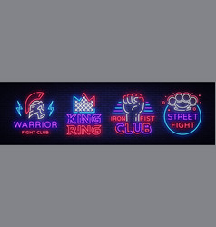 fight club collection neon signs set logo in neon vector image