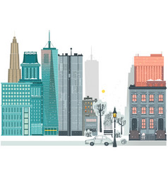 Flat city winter scene skyscrapers houses road vector