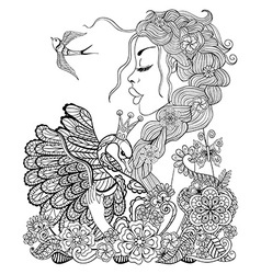 Forest fairy with wreath on head hugging swan in vector image