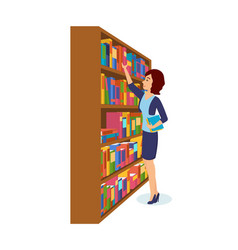 Girl is take books in library choosing necessary vector