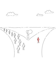 group of business people walking on rad direction vector image