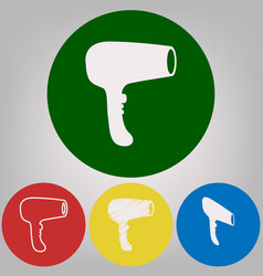 hair dryer sign 4 white styles of icon at vector image