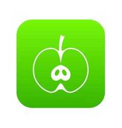 half apple icon digital green vector image