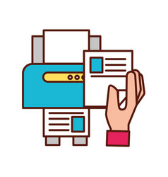 Hand holding paper copy printer machine vector
