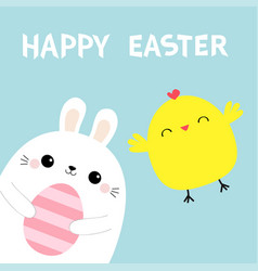 happy easter bunny holding pink painting egg vector image