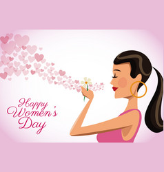 Happy womens day card cute girl flower heart vector