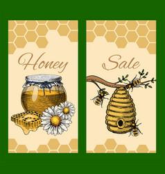 Honey waxing bee and beehive sale flyer poster vector