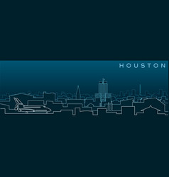 Houston multiple lines skyline and landmarks vector