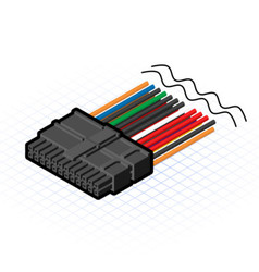 Isometric 24 Pin ATX Connector vector